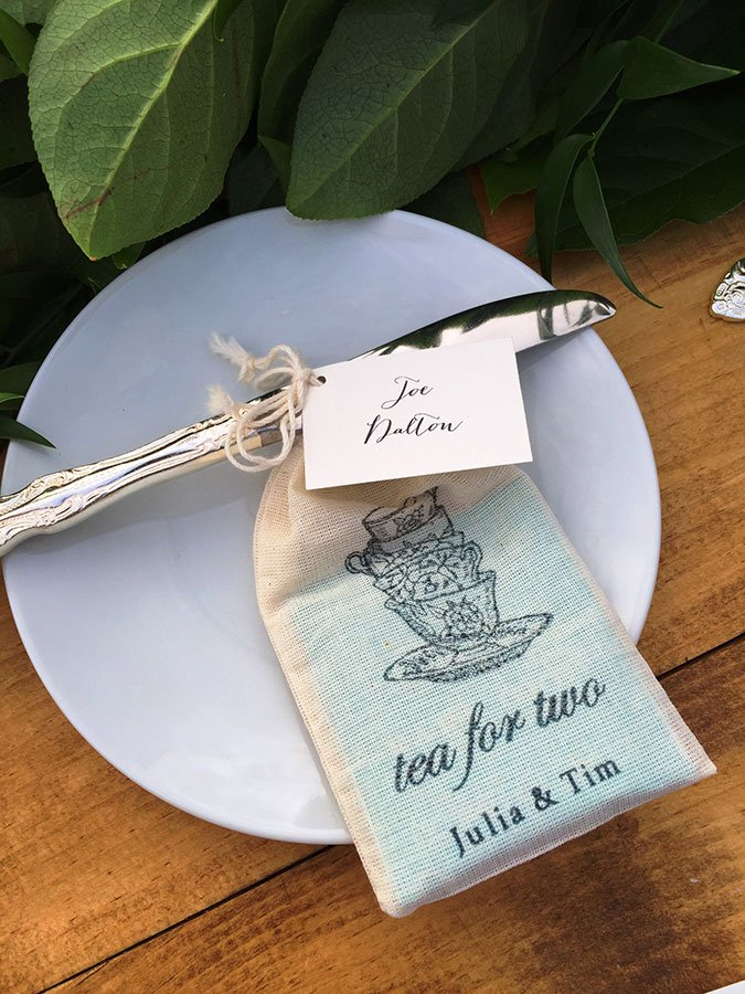 statement escort cards | tea bags