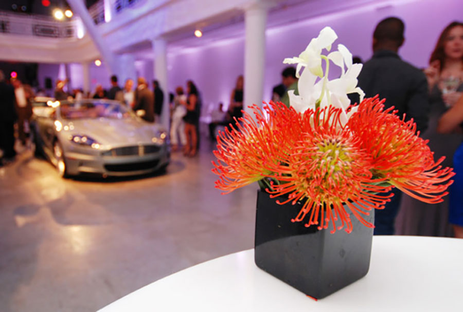Floral table decor at Aston Martin unveiling at the Moore Building Miami