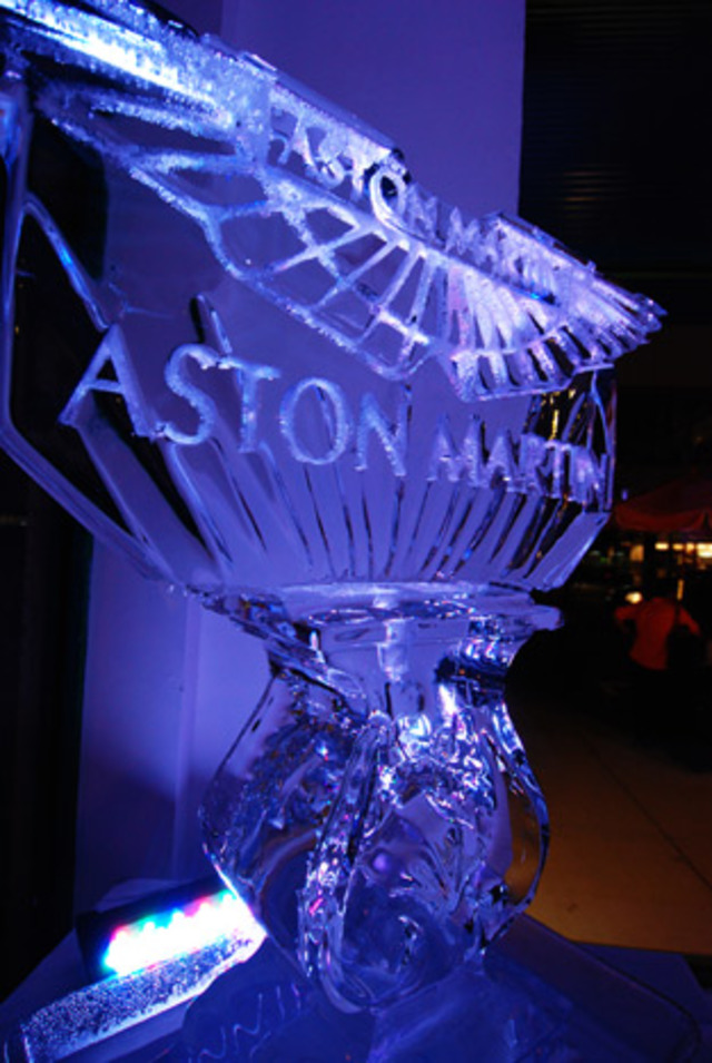 ice carving at Aston Martin unveiling at the Moore Building Miami