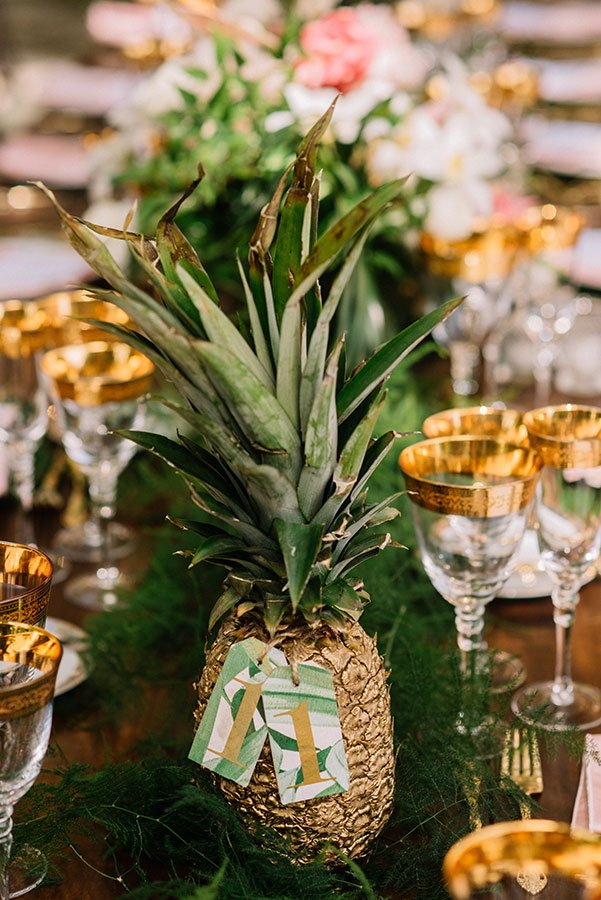 wedding seating chart ideas | pineapple table numbers