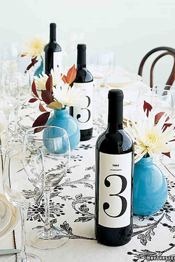 wedding seating chart ideas | wine bottle table numbers