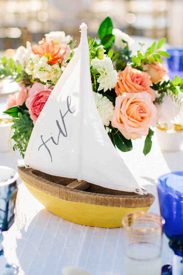 wedding seating chart ideas | wooden boat table number