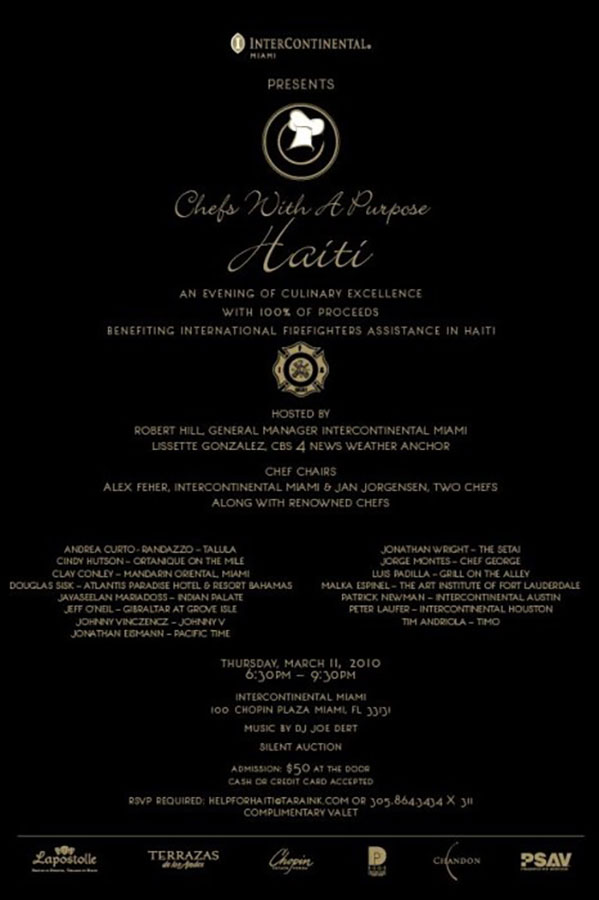 Sponsorship Catering Invitation for Chefs for a Purpose: Haiti event in Miami