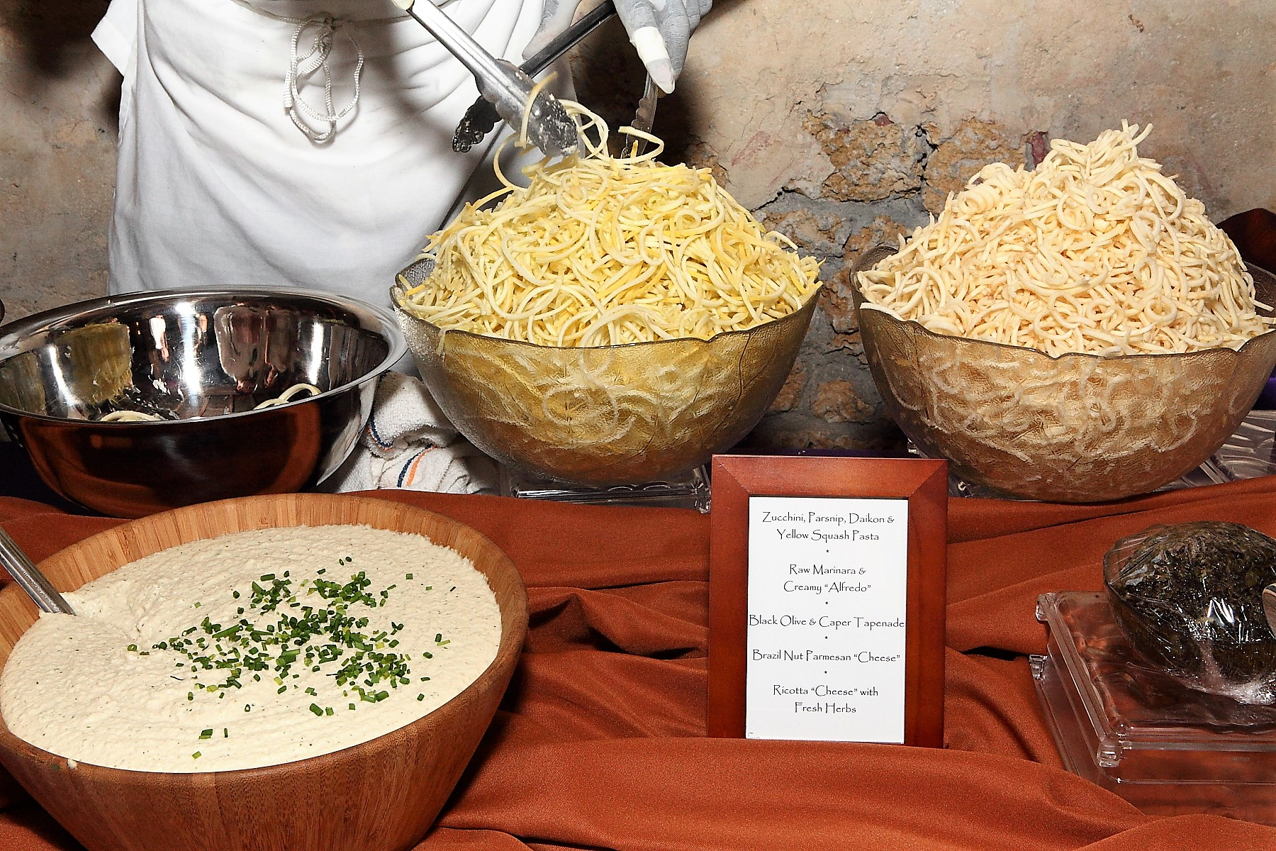 coral gables wedding catering | vegan pasta station