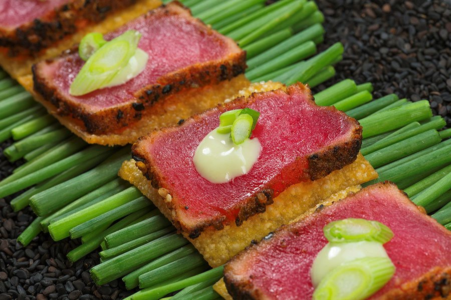 Craft services catering for The Glades | ahi tuna on wonton