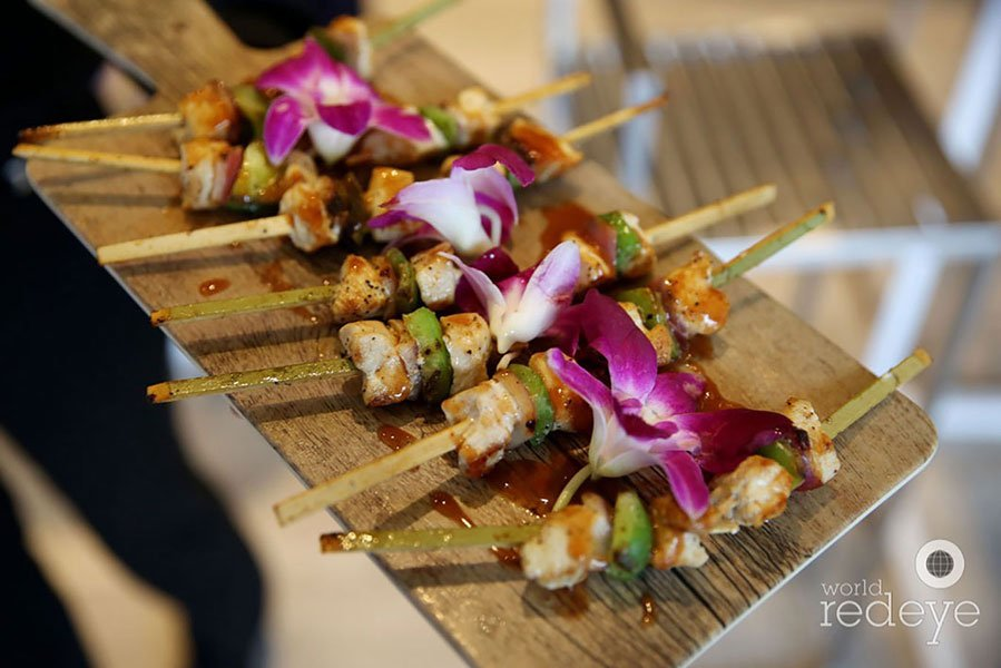 chicken skewers at juicy couture grand opening party