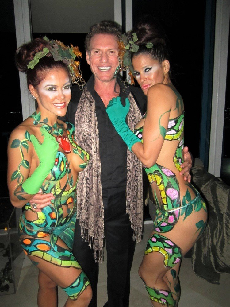 Adam and Eve birthday party theme | serpent body painted models