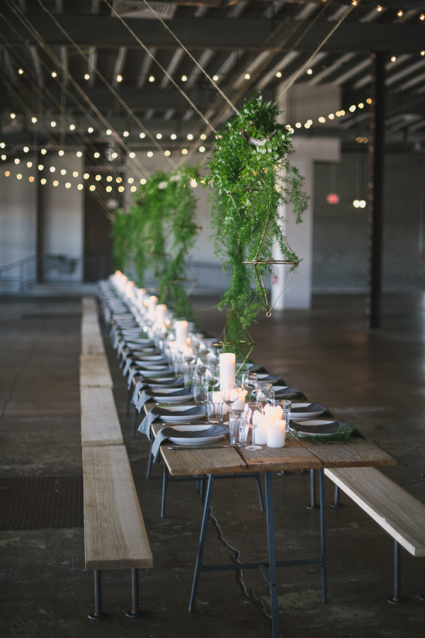 Style Me Pretty wedding inspiration | industrial