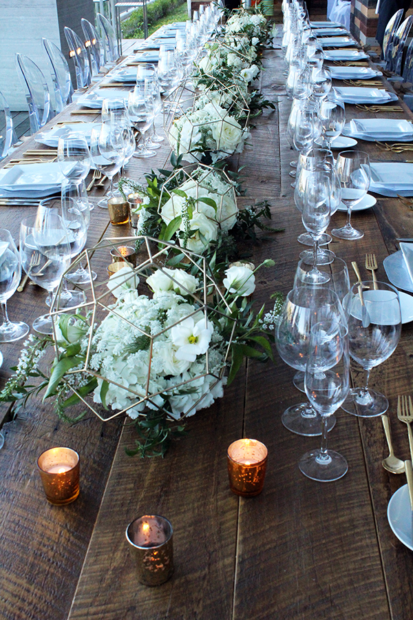 Modern Tablesetting with geometric floral centerpiece decor