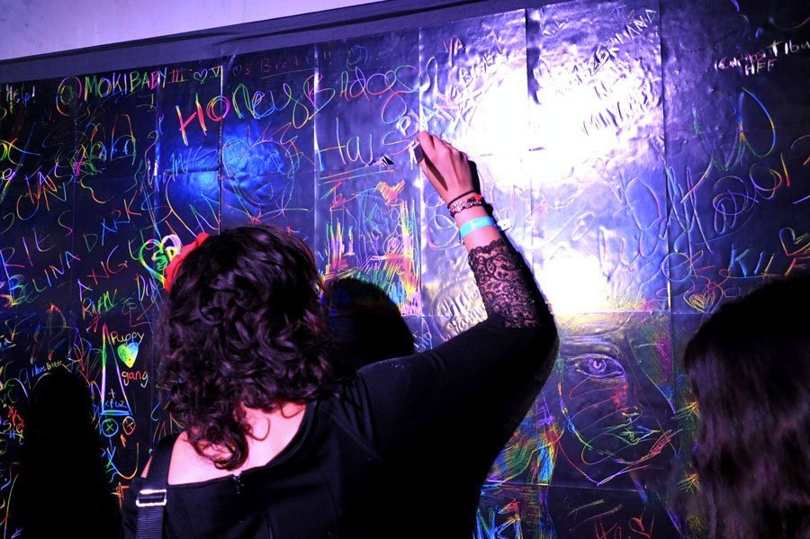 Absolut X 'Create with Us' wall at Soho Studios event