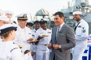 President of Peruvian Avocado Commission greets sailors