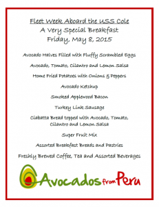 Eggwhites Catering menu for the USS Cole Fleet Week breakfast