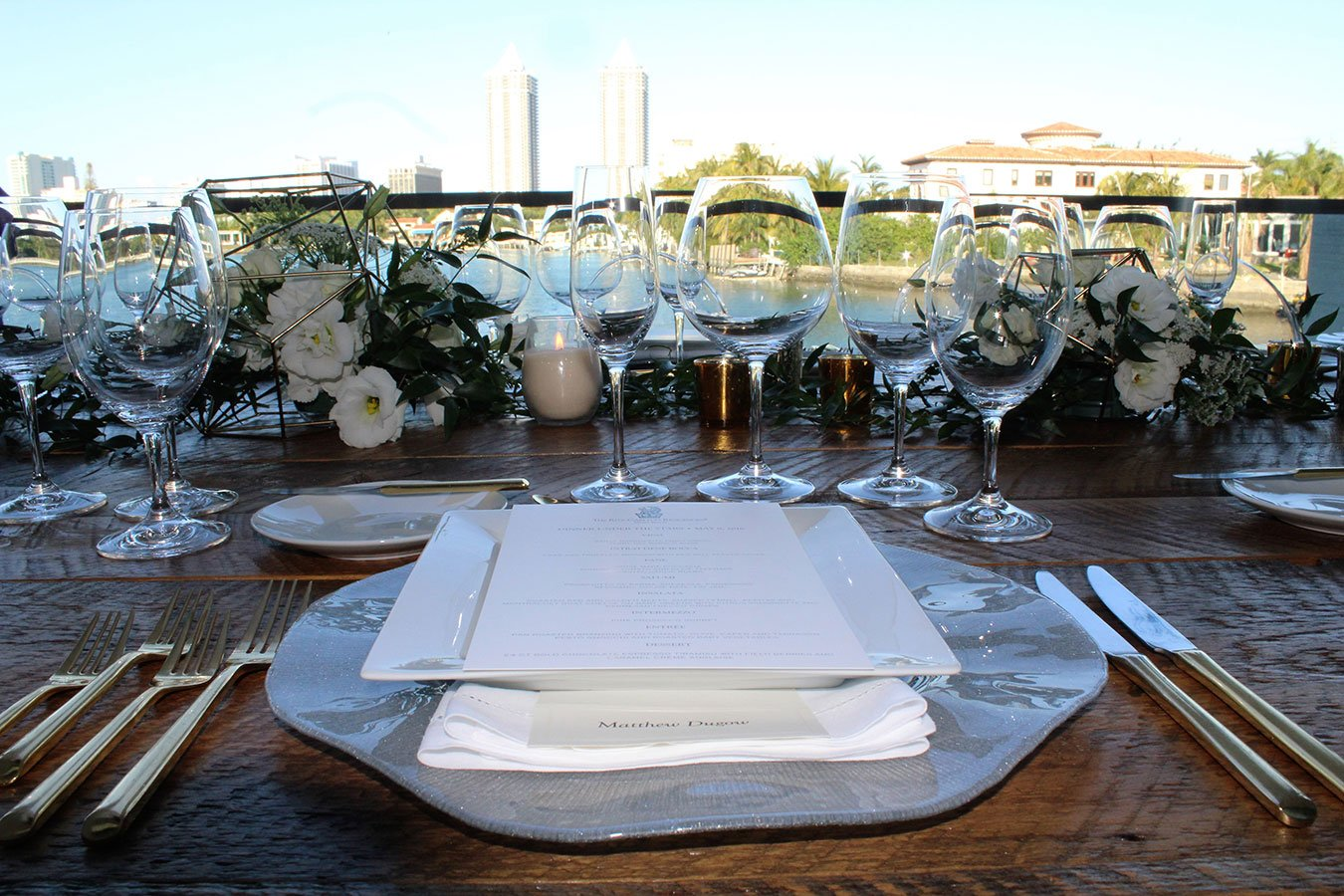Placesetting for Dinner Under The Stars at Ritz Residences Miami Beach