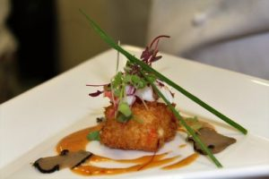 Crab and Truffled Arancini with Red Bell Pepper Sauce