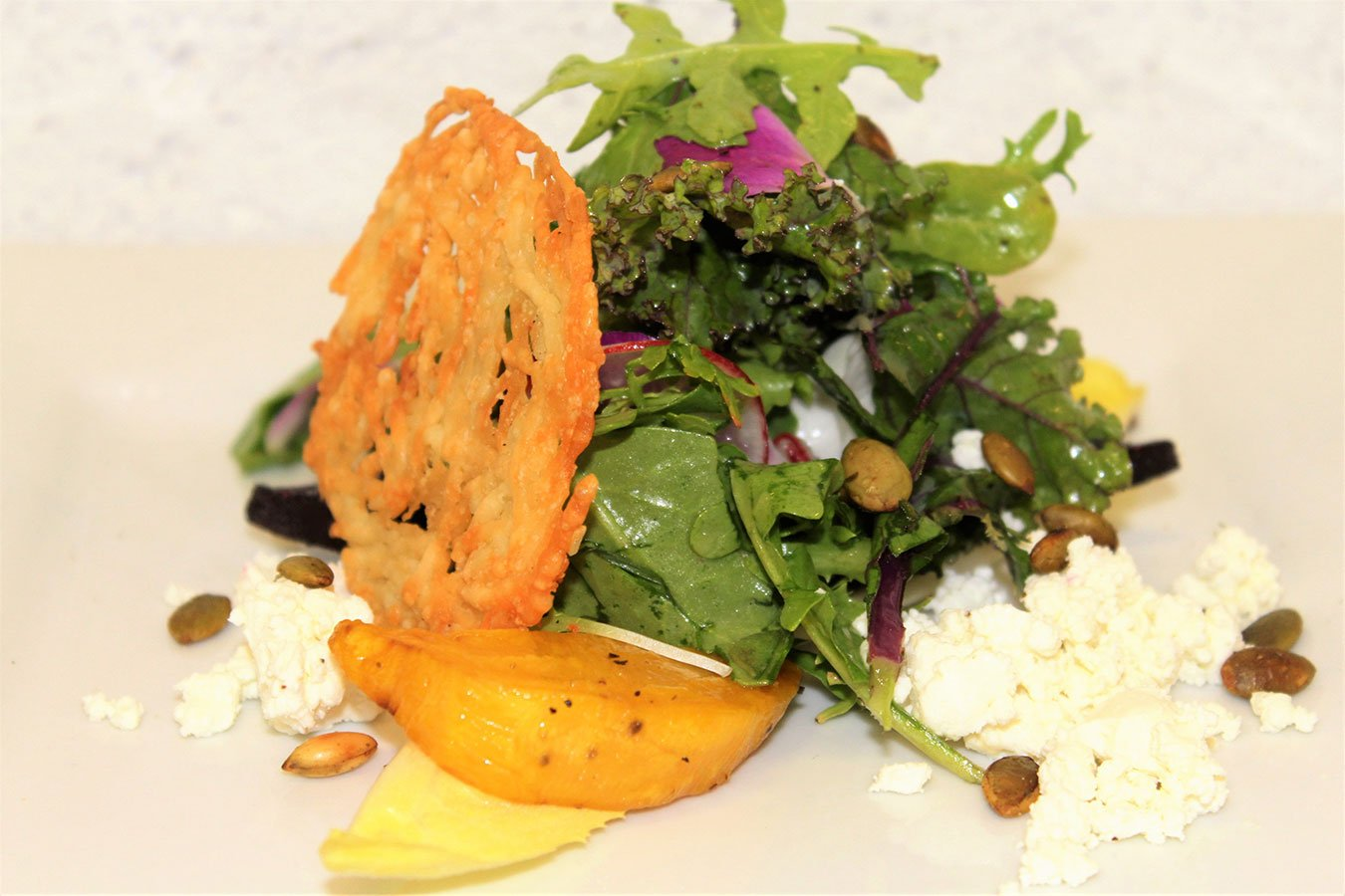 Roasted red and golden beet salad with shaved fennel, pepitas and montrachet goat cheese on baby greens with citrus vinaigrette and montrachet goat cheese