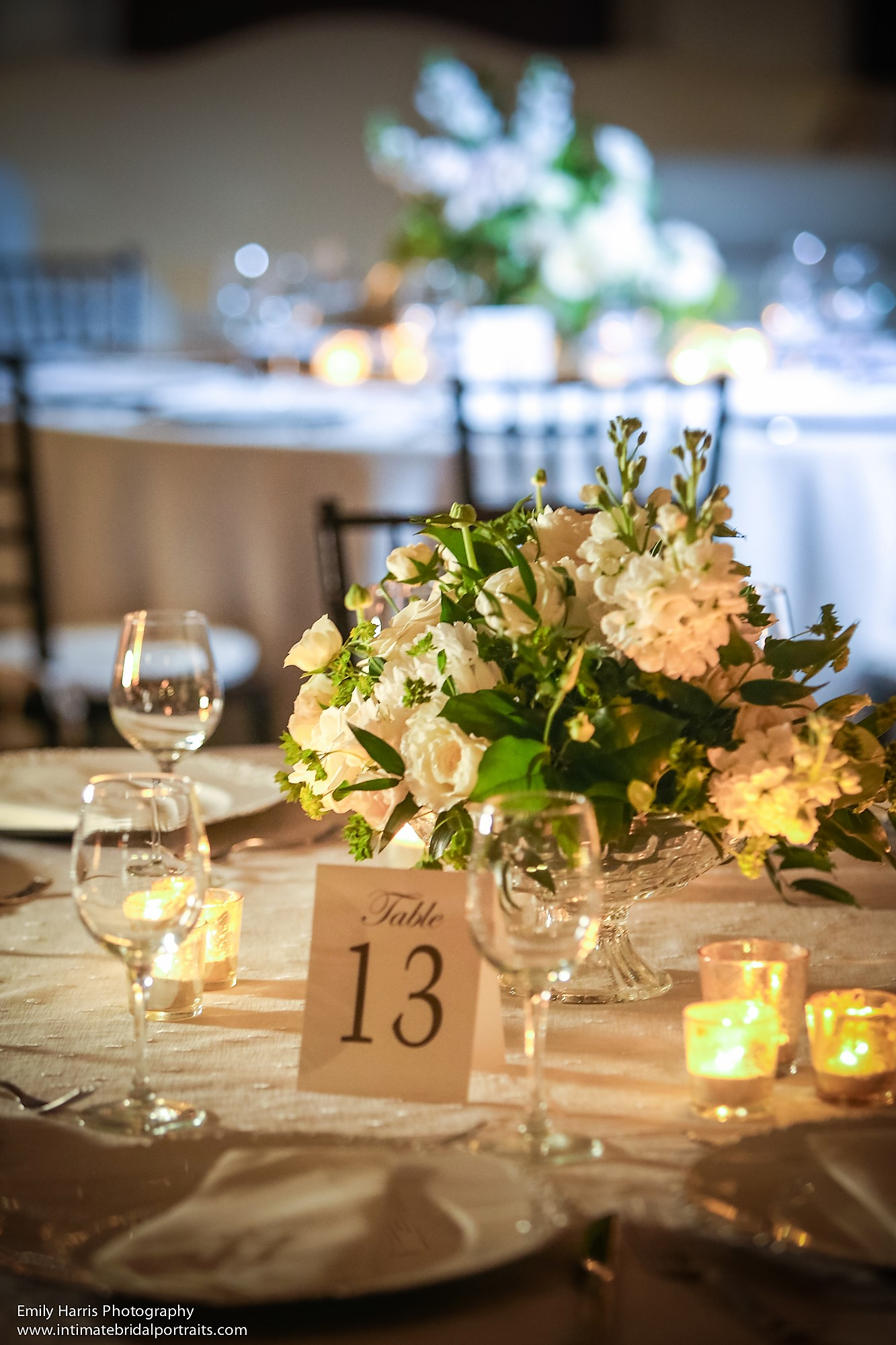 Classic and romantic all-white wedding décor at The Bath Club