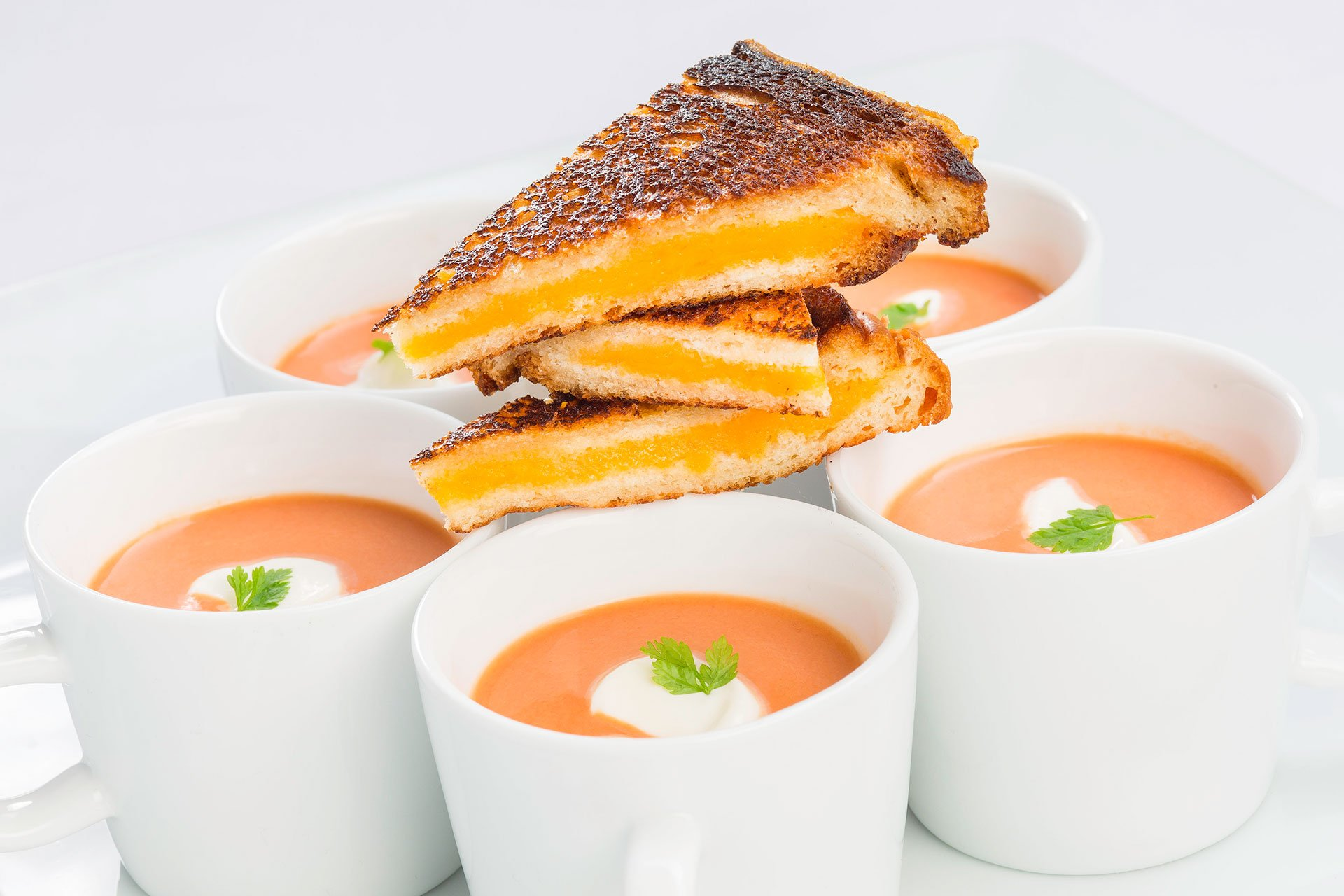 2019 wedding trends | late night snacks |  Tomato Bisque Shooter with Smoked Gouda Grilled Cheese Triangles
