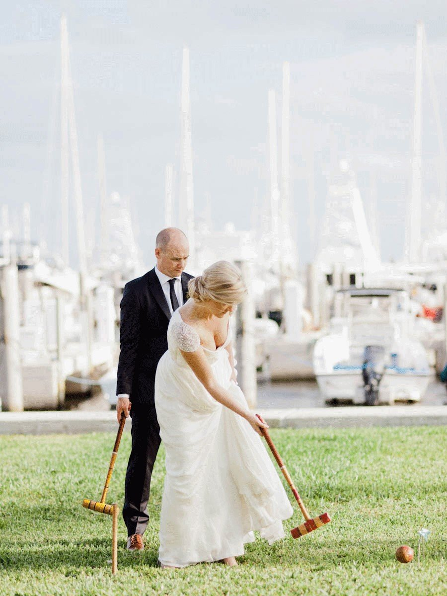 Guest enjoyed cocktails and croquet | Biscayne Bay Yacht Club wedding reception | Miami, FL
