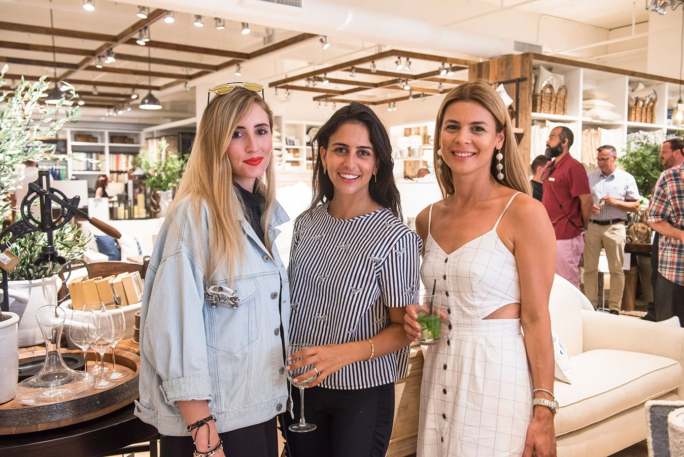 Adriana Epelbaum, Heymama's Ailyn Easyag and Bercu Uygur at the Pottery Barn Lincoln Road Grand Opening Event