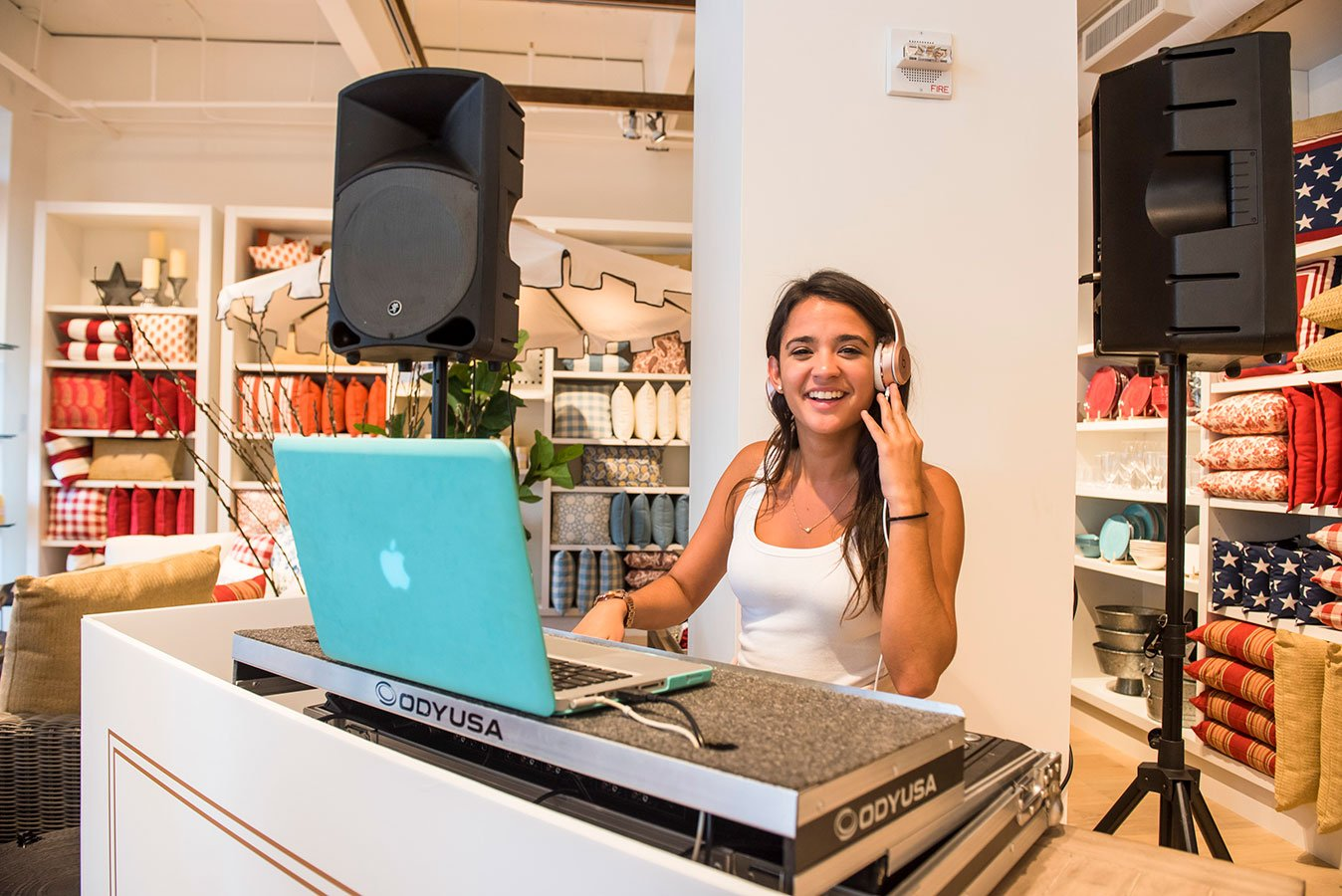 DJ Lexi Terrz on the turntables at the Pottery Barn South Beach Grand Opening Event