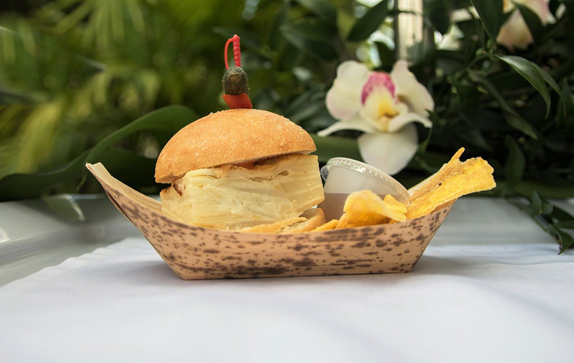 Bocadillo de Tortilla Espanola was a grab-and-go item served at the Assorted Ceviche including Equadorian Shrimp, Honduran Tuna and Peruvian Sea Scallop at Hispanicize Miami 2017 DiMe Summit lunch
