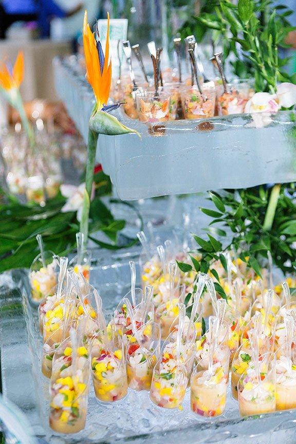 Assorted Ceviche including Equadorian Shrimp, Honduran Tuna and Peruvian Sea Scallop at Hispanicize Miami 2017 DiMe Summit