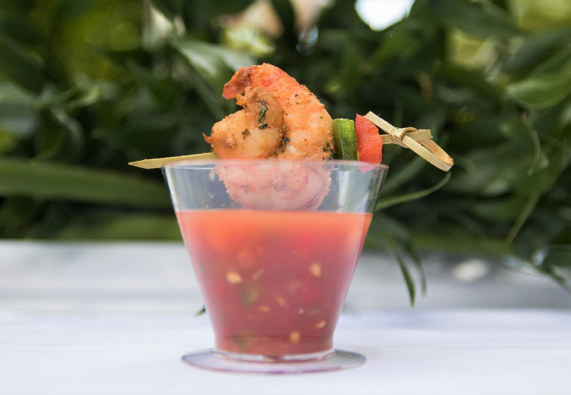 Shrimp Cocktail Rimmed Gazpacho with Mango and Dark Rum at Hispanicize Miami 2017