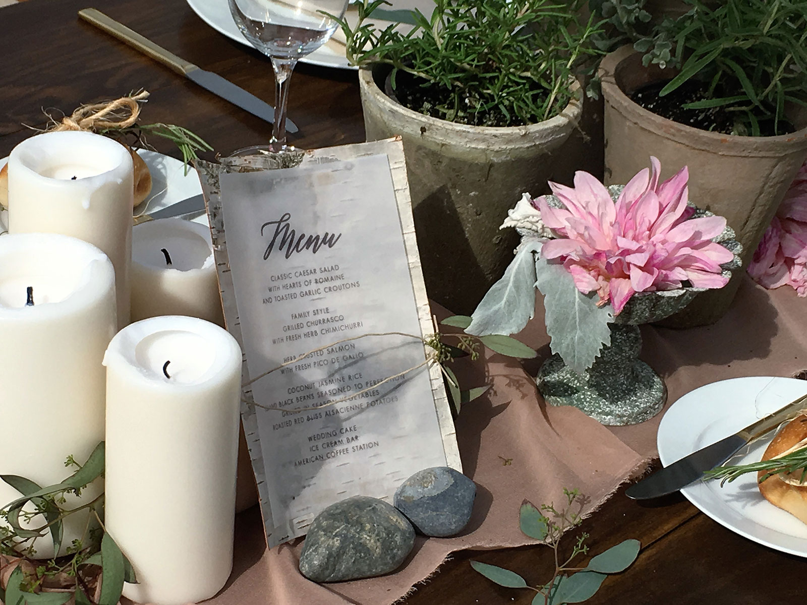 Rustic menu card for green wedding at Miami Seaquarium