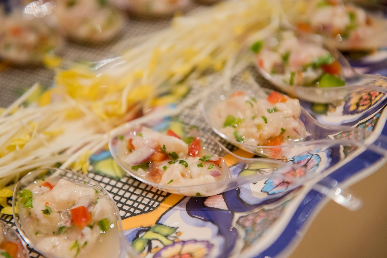 Spoons of Ceviche served on a Pottery Barn Del Sol melamine platter at the South Beach Grand Opening Event