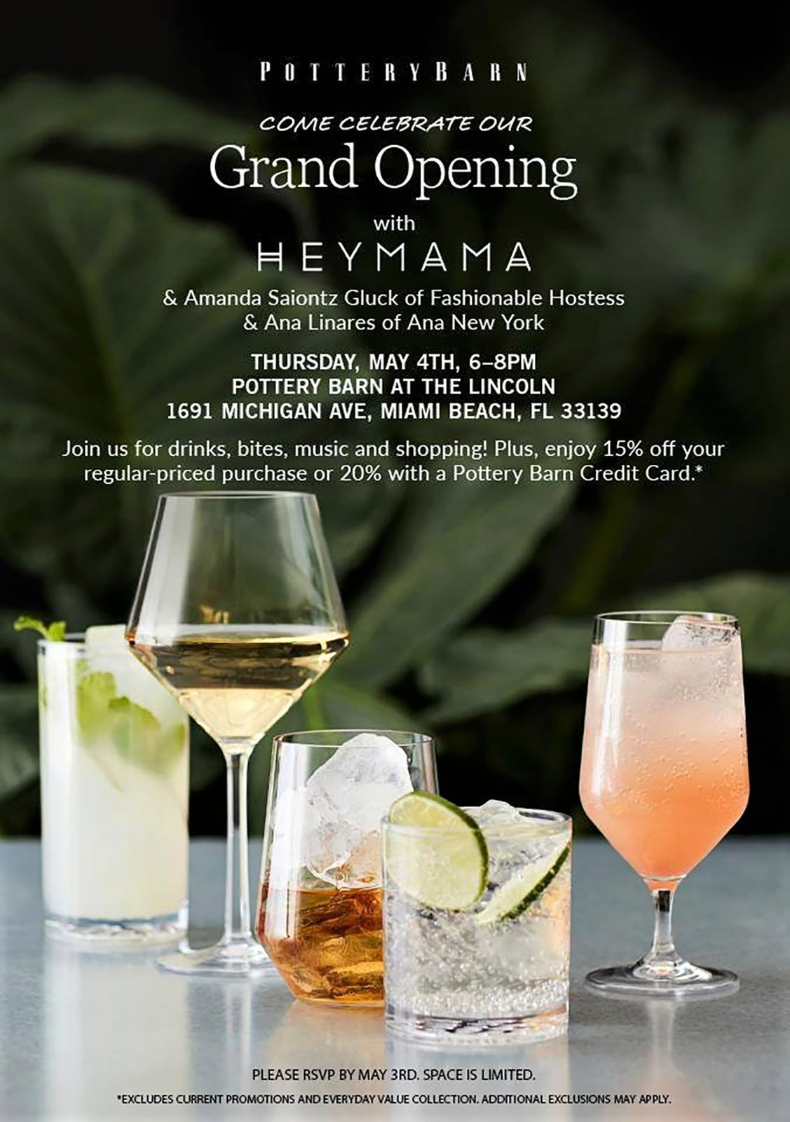 Invitation for the Pottery Barn South Beach Grand Opening Event hosted by Heymama
