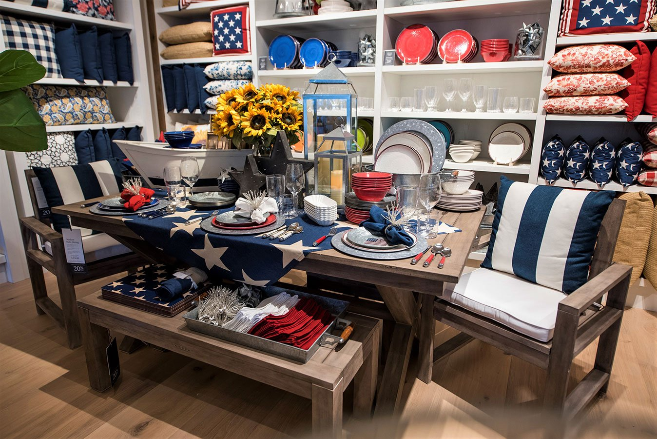 Galvanized Entertaining and Enamel Dinnerware collections on display at the Pottery Barn South Beach store