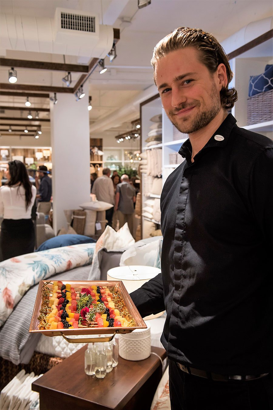 Fresh fruit brochettes on a copper tray at the Pottery Barn South Beach Grand Opening event