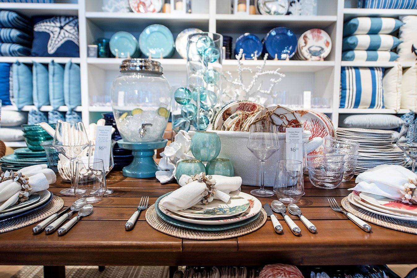 Under the Sea melamine platter and dinnerware on display at the Pottery Barn South Beach Grand Opening Event