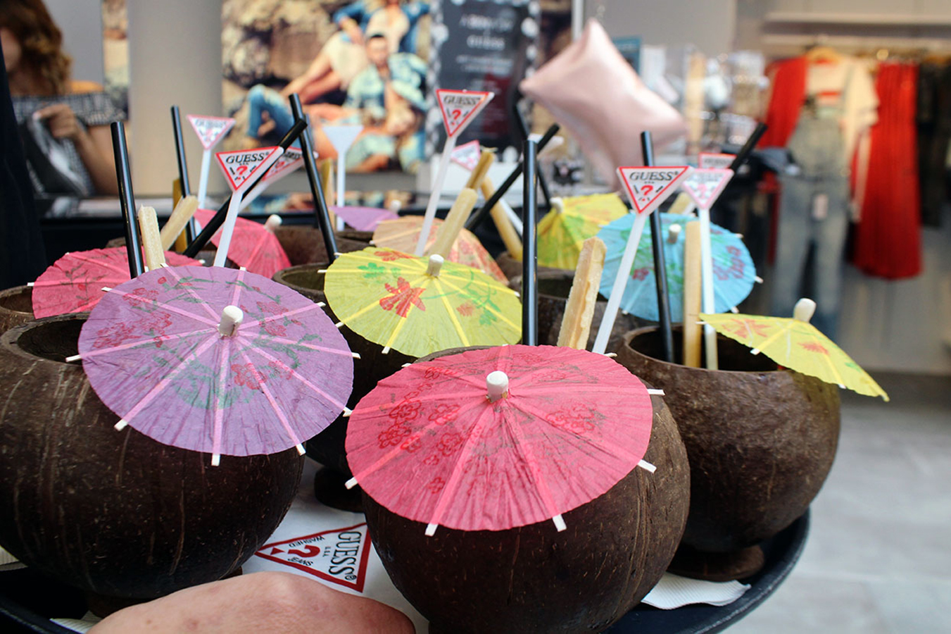 Pineapple mojitos in coconut cups were perfect for the A Bikini A Day event at the GUESS Lincoln Road store event