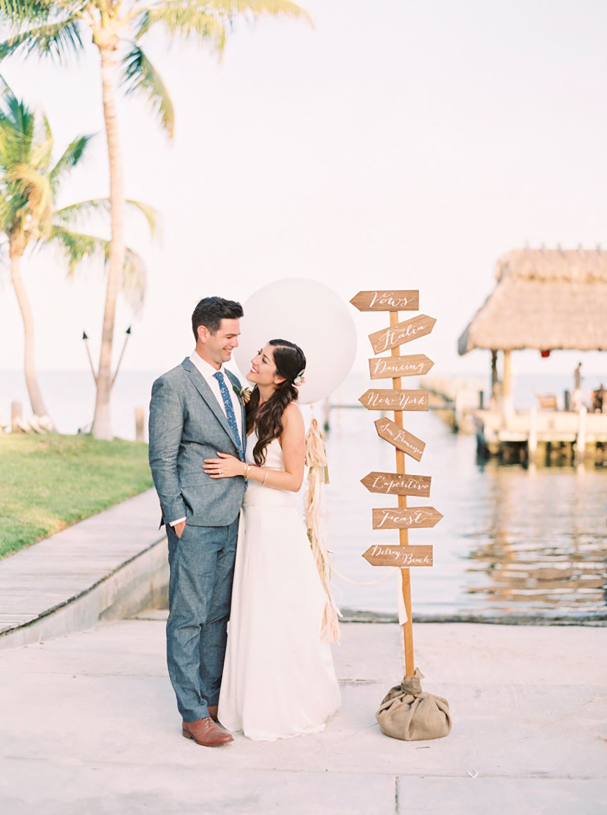Reception directional sign for a destination wedding at The Caribbean Resort in Islamorada