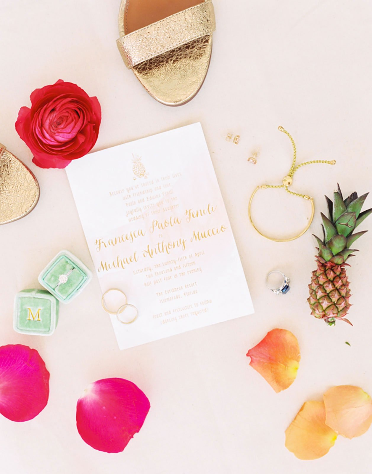 Custom gold wedding invitation with pineapple motif accent for a destination wedding in Islamorada, FL