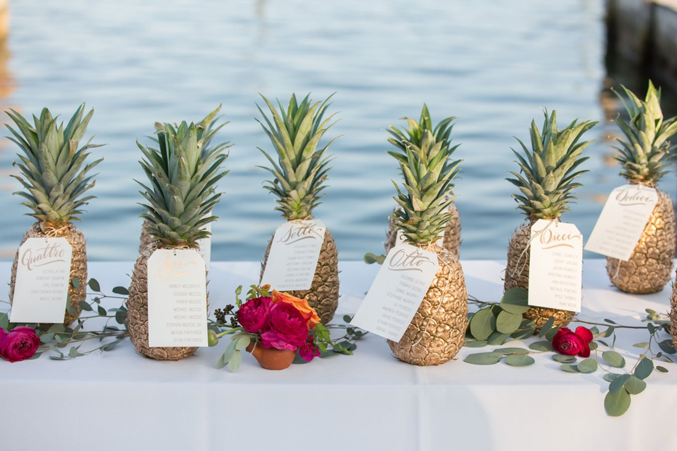 tropical wedding table signs | isla moradw wedding venue