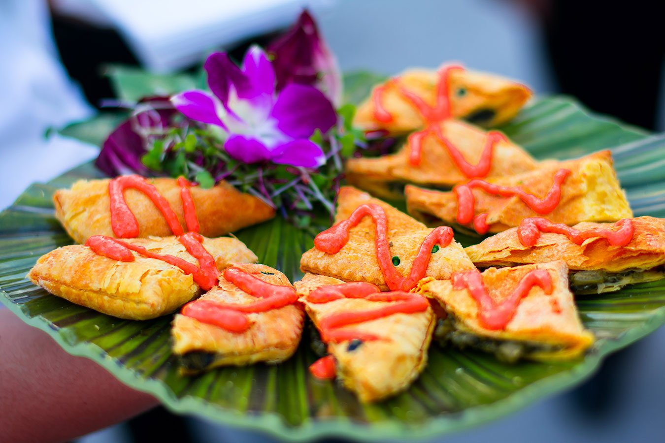 Catering Fort Lauderdale   Hors d'oeuvre   Jamaican Callaloo Patties with Roasted Red Papper Aioli   FATVillage Arts District
