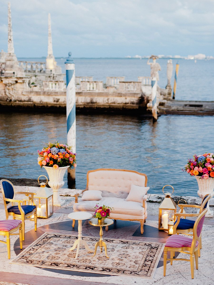 Vizcaya Museum and Gardens wedding reception | Stunning view of Biscayne Bay | Miami wedding venues