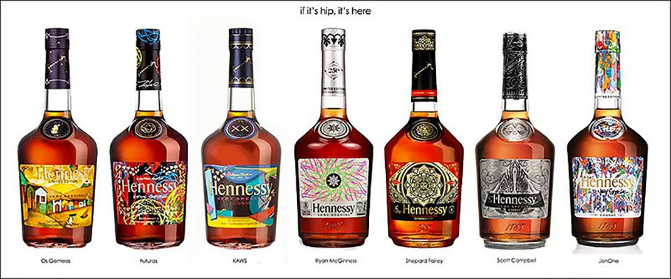Collection of all seven Hennessy VS limited edition bottle designs