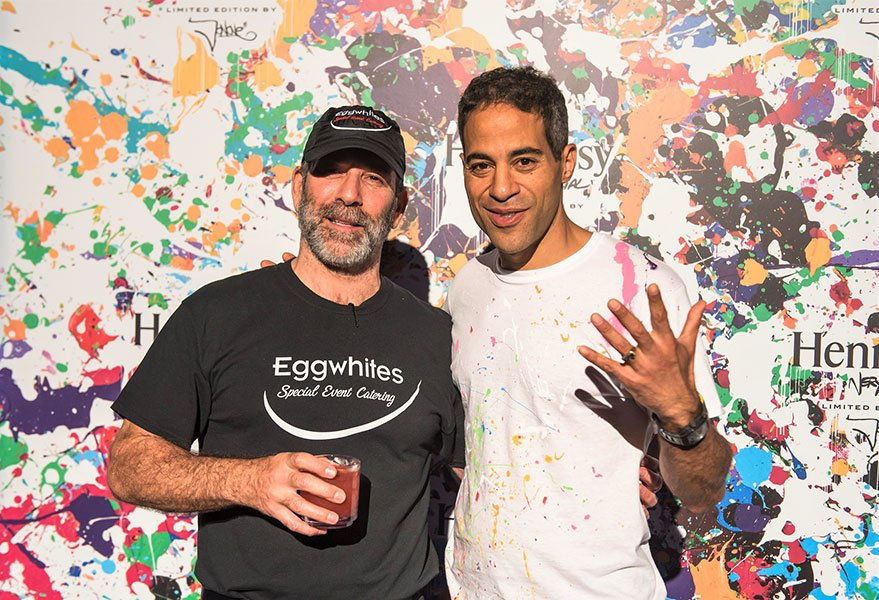 Chef Gary Lampner with Graffiti artist JonOne at Hennessy VS Limited Edition by JonOne event at Cafeina Wynwood