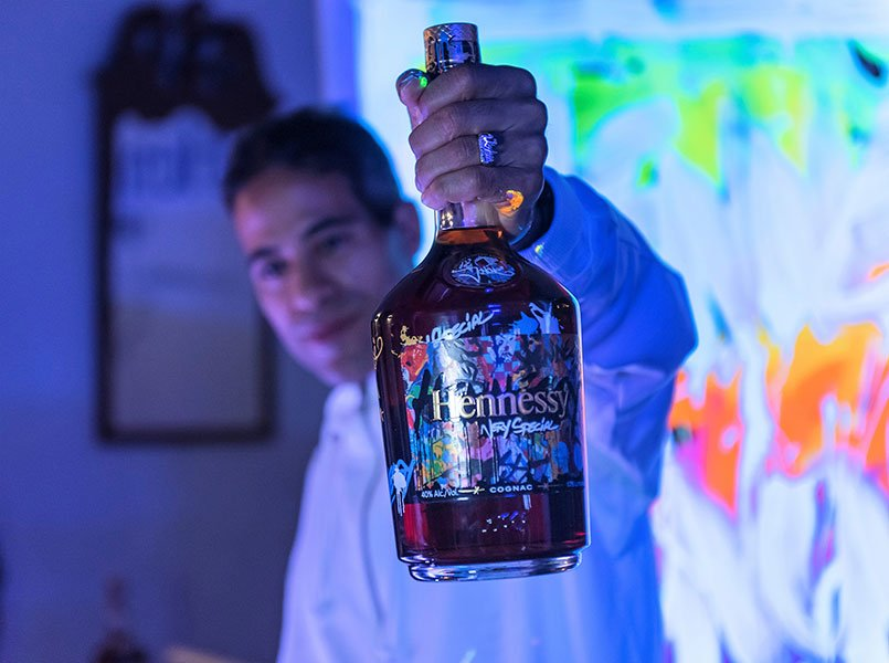 JonOne gives a live art performance at Hennessy VS Limited Edition by JonOne event at Cafeina Wynwood