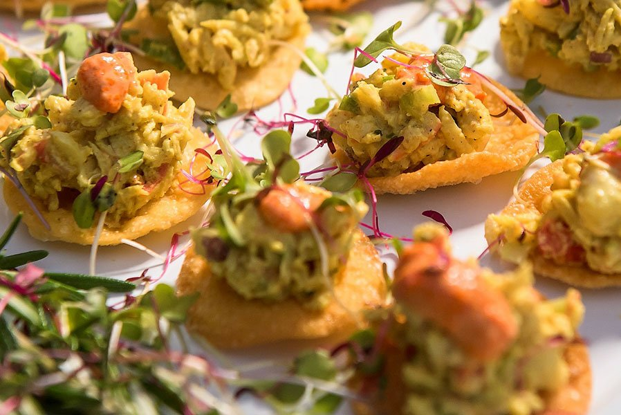 Eggwhites Special Events Catering served Curried Crab Salad Topped Mini Papadums