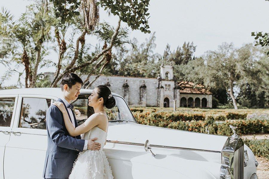 Couple at Ancient Spanish Monastery wedding