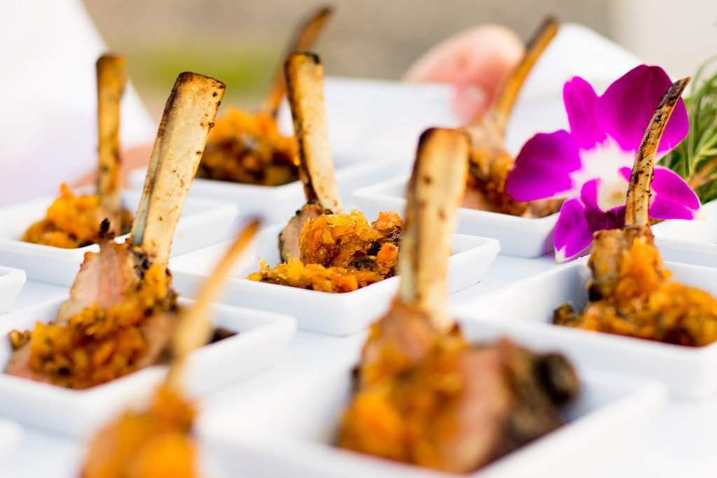 Catering Fort Lauderdale | Hors d'oeuvre | Hors d'oeuvre | Grilled Lamb Chop Lollipop with Minted Ginger Chutney | FATVillage Arts District