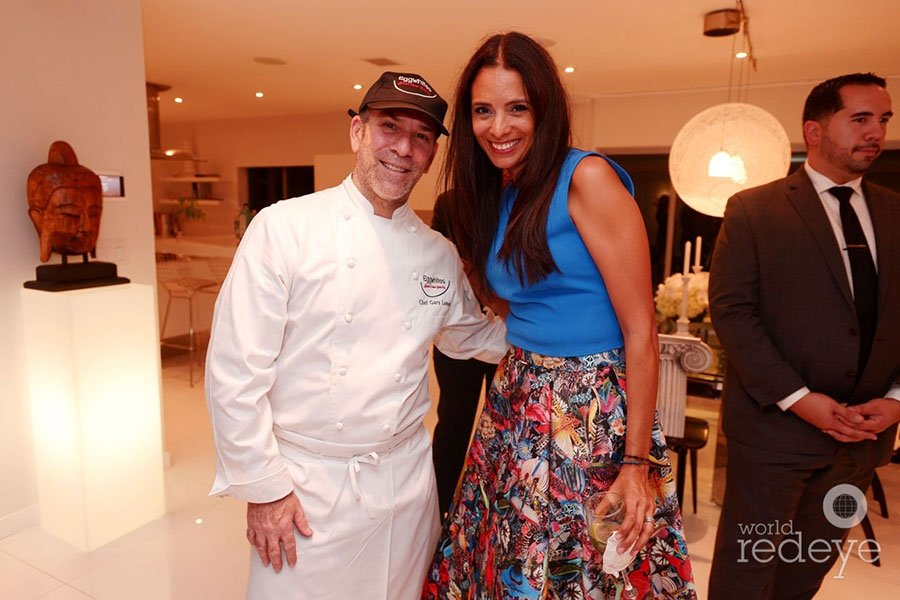 Eggwhites Owner and Chef Gary Lampner with Valentina Gutchess at PAMM party | Corporate Catering Miami