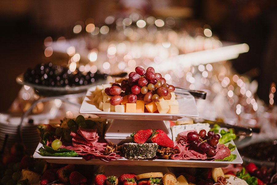 Cheese and charcuterie food station at a luxury Miami Beach wedding at The Bath Club