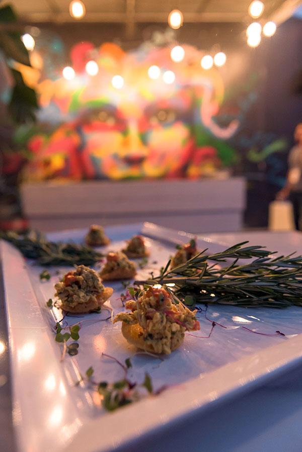 Curried Crab Salad on Mini Papadum    Art Basel party food
