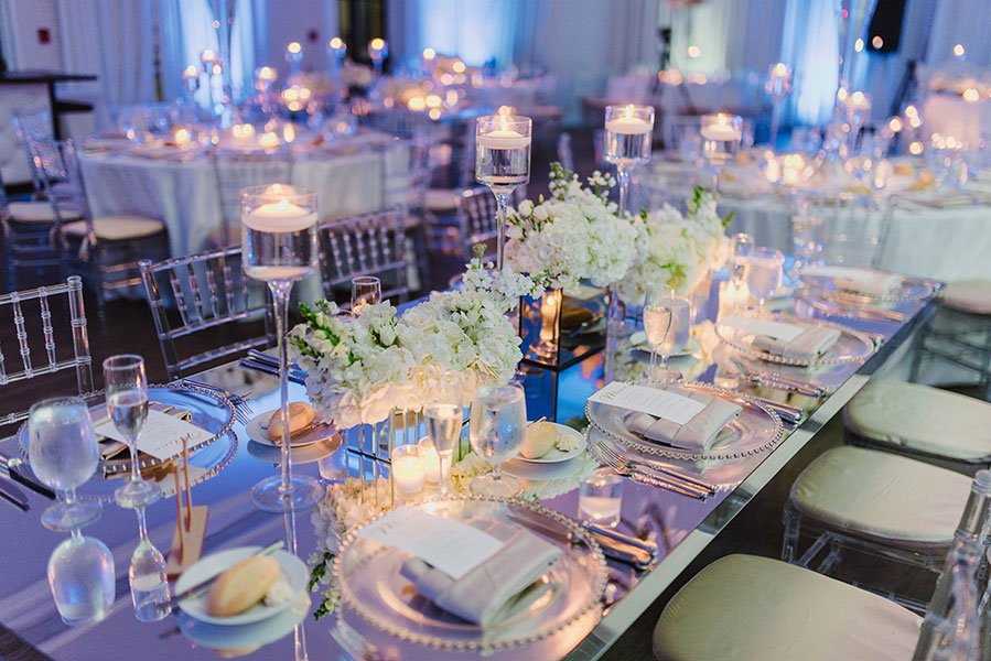 Elegant wedding reception at The Bath Club on Miami Beach