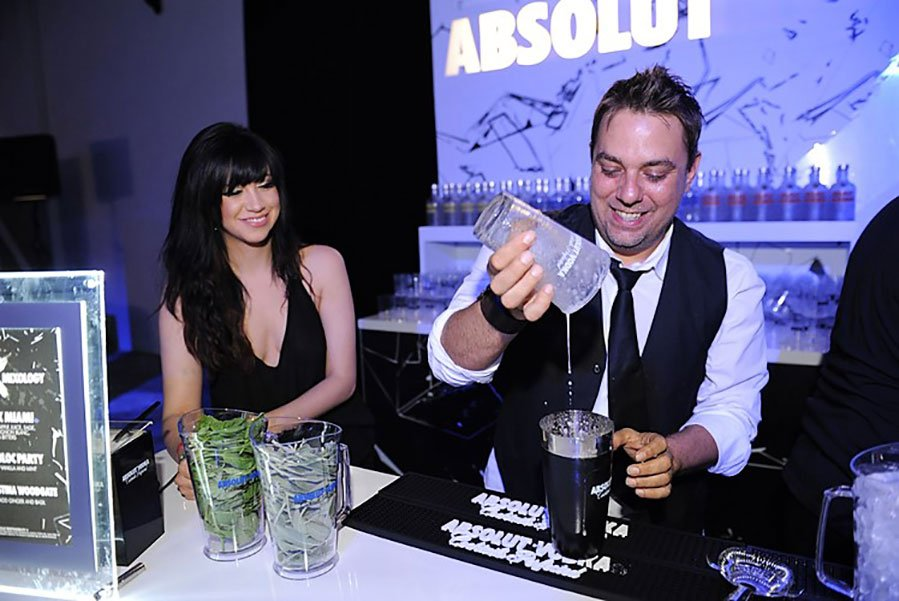 Mixologist John Lermayer in action at Absolut X Miami event at Soho Studios